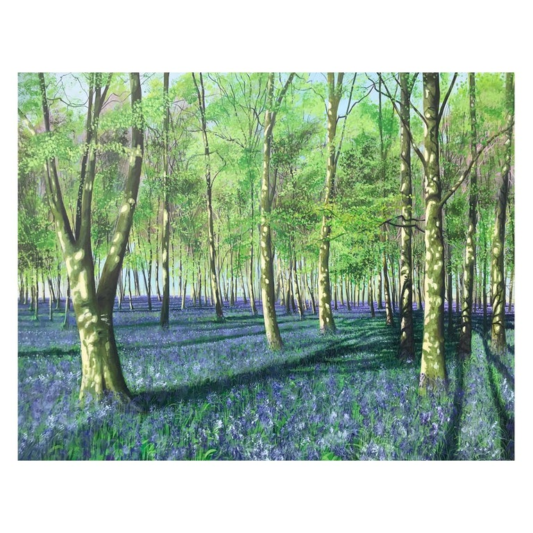 Bluebell Howe Wood Contemporary Landscape Painting For Sale