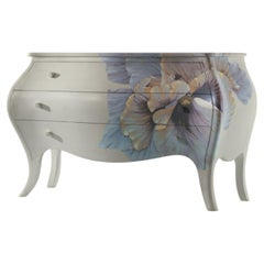 Bluebell Shiny Chest of Drawers with Flower Hand-Painted Decoration