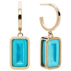 Blueberry Pfefferminz Hoops, 14 Karat Yellow Gold Carved Turquoise Hoop Earrings