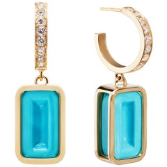 Blueberry Pfefferminz Hoops Stoned, 14k Yellow Gold Carved Turquoise Diamond