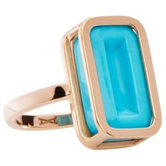 Blueberry Pfefferminz Ring, 14 Karat Yellow Gold Carved Turquoise Cocktail Ring