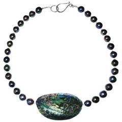 Gemjunky Blue/Green/ Purple Pearls and Paua Shell Necklace