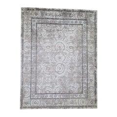 Blue,Ivory Silken Roman Mosaic Design Hand-Knotted Oriental Rug