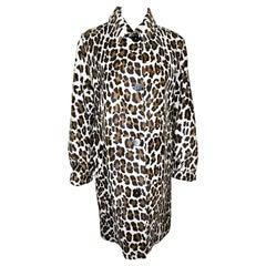 Bluemarine Leopard Print Calf Fur Coat 40 EU
