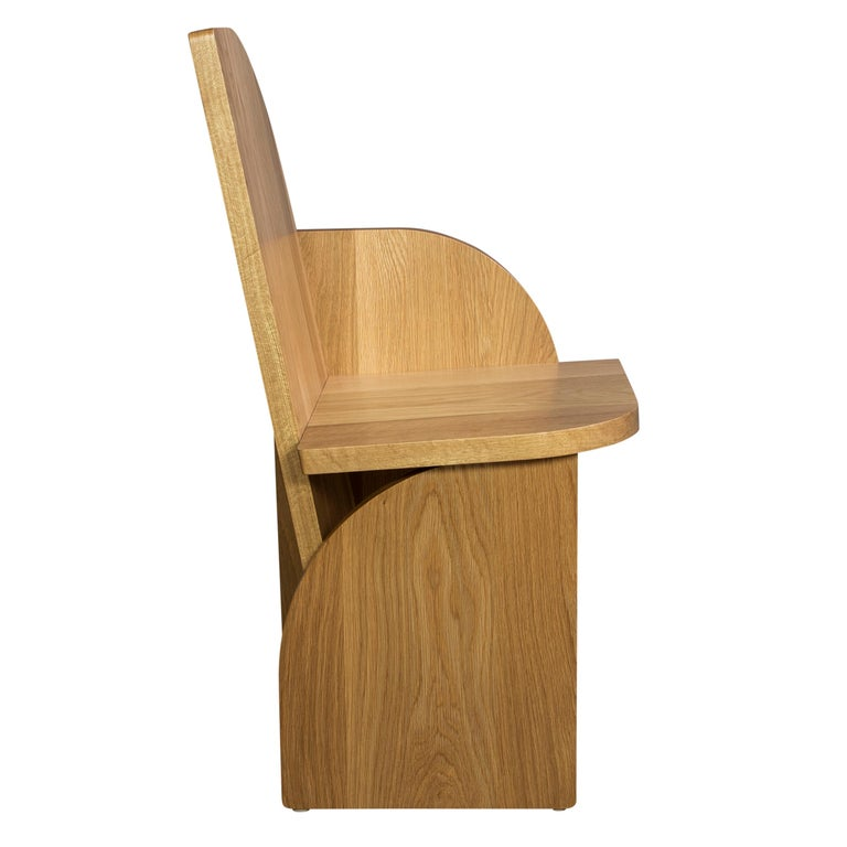 Modern Bluff Side Chair from Souda, Customizable, Oak, Left, Made to Order For Sale