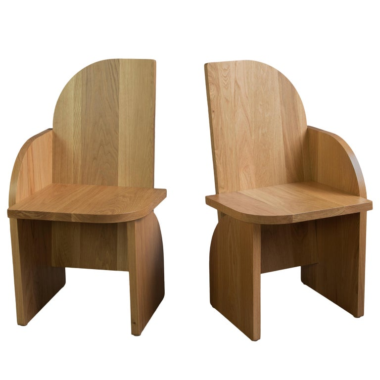 Contemporary Bluff Side Chair from Souda, Customizable, Oak, Left, Made to Order For Sale