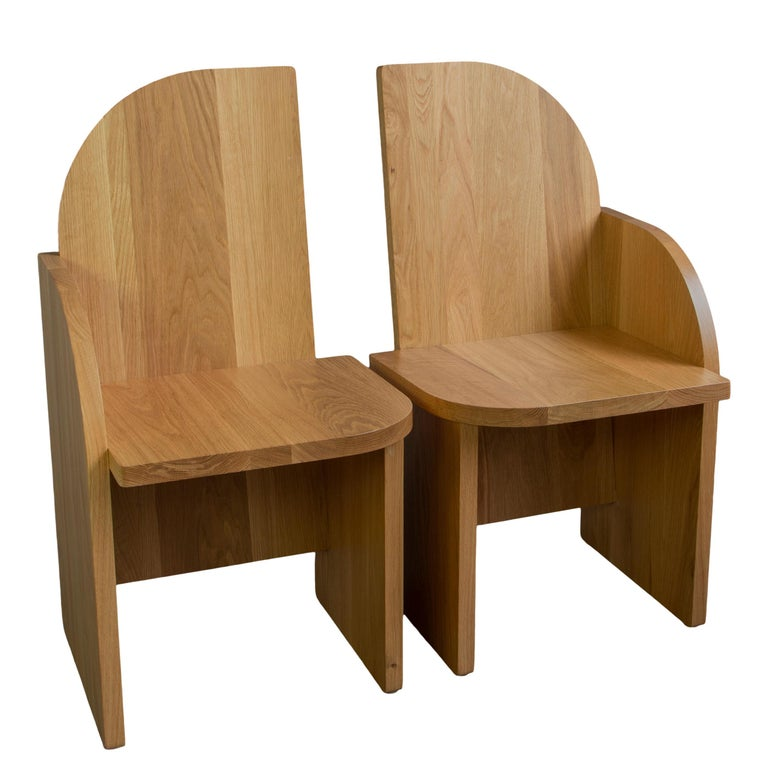 Contemporary Bluff Side Chair from Souda, Customizable, Oak, Right, Floor Model For Sale