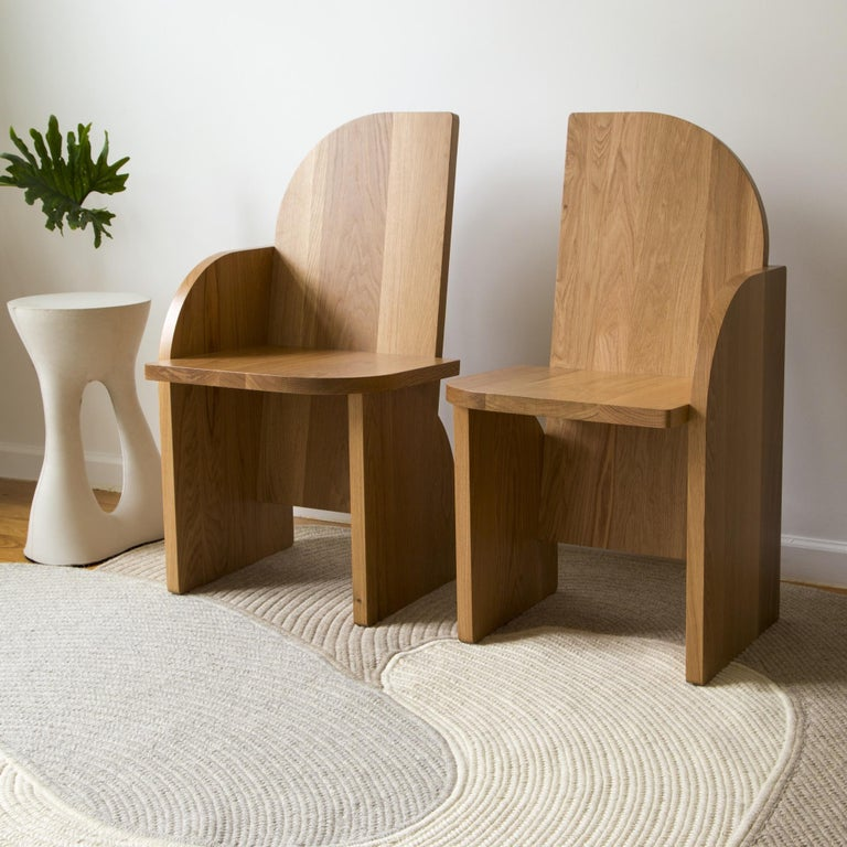 Bluff Side Chair from Souda, Customizable, Oak, Right, Made to Order For Sale 2