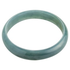 Bluish-Green Jadeite Jade Bangle Certified Untreated