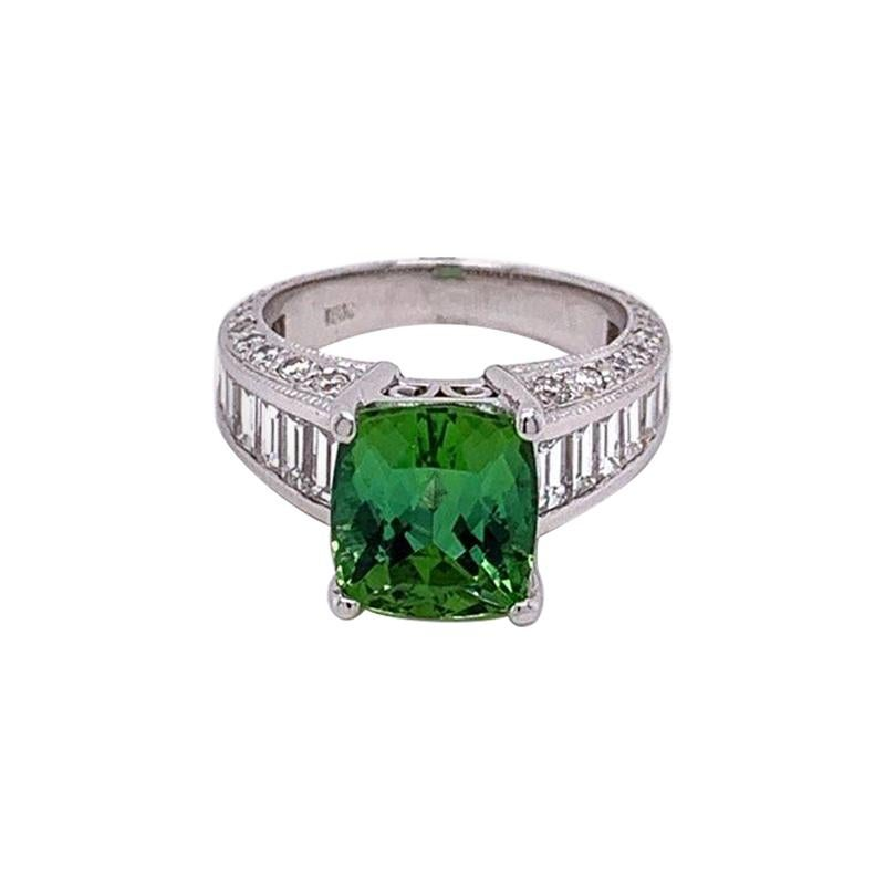 Bluish-Green Tourmaline Diamond Gold Ring