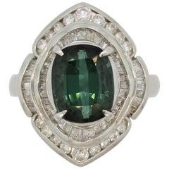 Bluish-Green Tourmaline Diamond Platinum Ring
