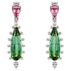 Bluish Green Tourmaline & Pink Spinel Earrings, 18k White Gold Diamonds Earring