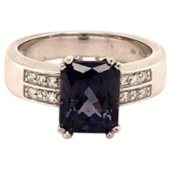 Bluish-Violet Colored Spinel and Diamond Ring in 18 Karat Gold
