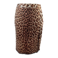 Blumarine Animalier Leopard Print Pencil Skirt Size 42