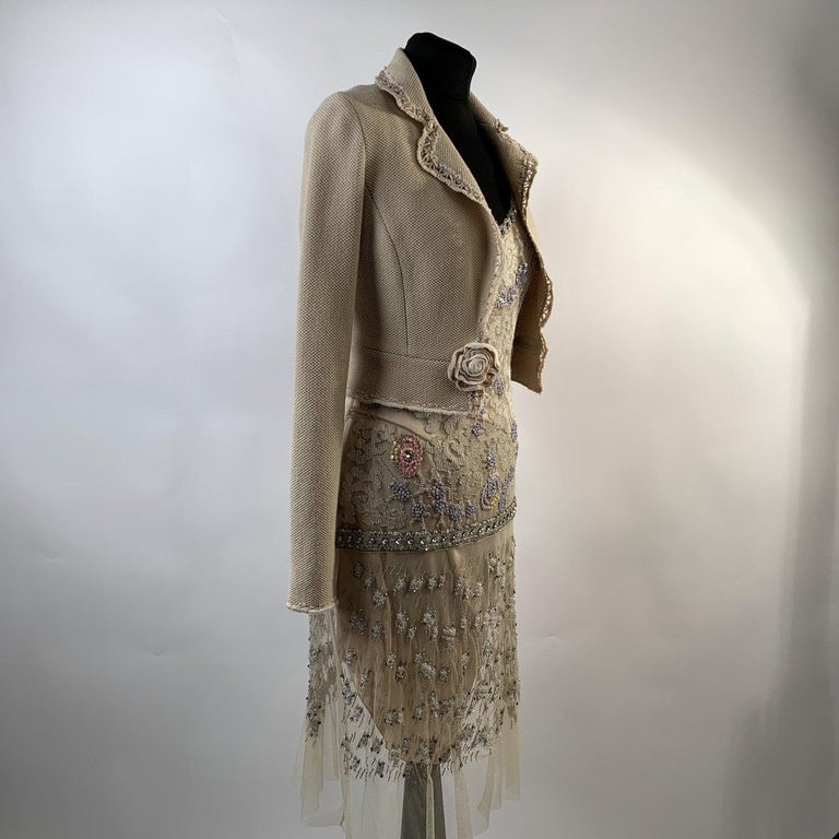 MATERIAL: Mesh, Silky Faabric COLOR: Beige MODEL: Dress set GENDER: Women SIZE: Extra-Small Condition A :EXCELLENT CONDITION - Used once or twice. Looks mint. Imperceptible signs of wear may be present due to storage - a couple of snags due to