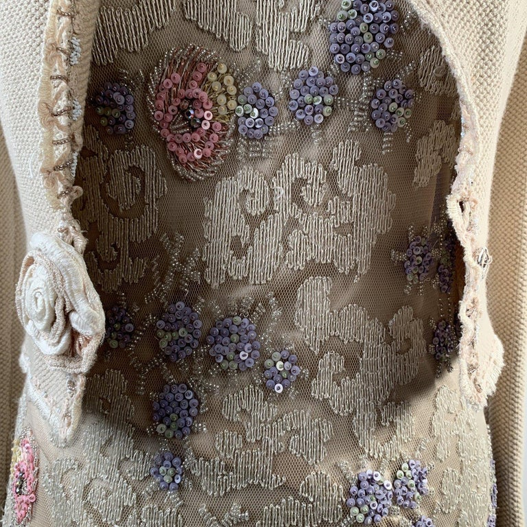 Blumarine Beige Beaded Midi Embellished Dress Set with Jacket In Excellent Condition For Sale In Rome, Rome