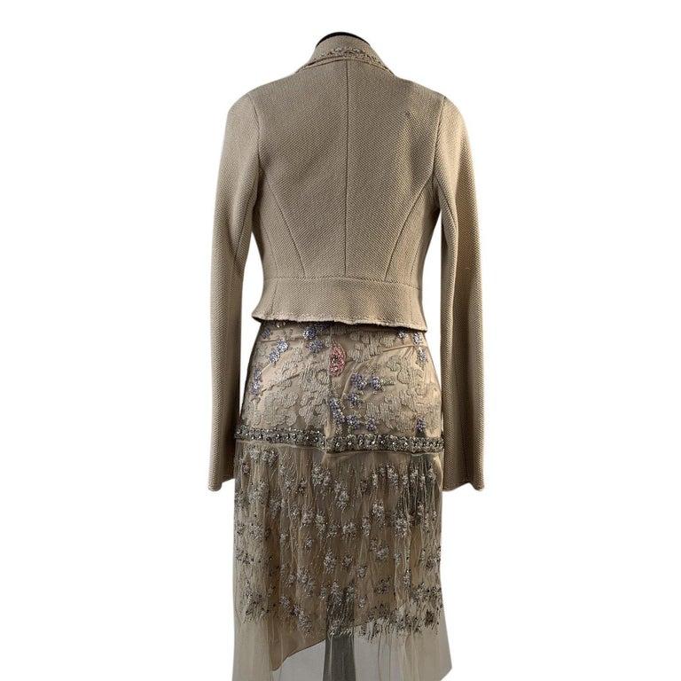 Women's Blumarine Beige Beaded Midi Embellished Dress Set with Jacket For Sale