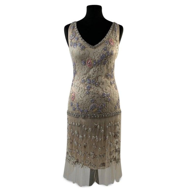 Blumarine Beige Beaded Midi Embellished Dress Set with Jacket For Sale 1