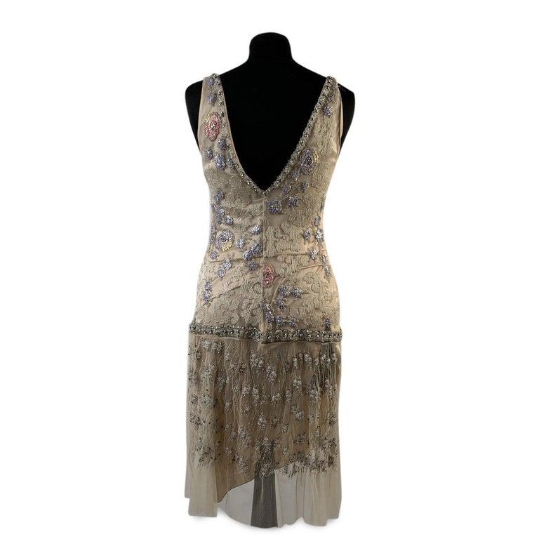 Blumarine Beige Beaded Midi Embellished Dress Set with Jacket For Sale 2