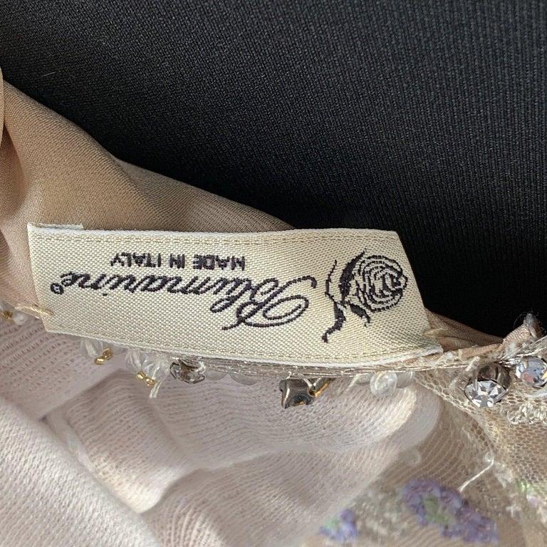 Blumarine Beige Beaded Midi Embellished Dress Set with Jacket For Sale 3