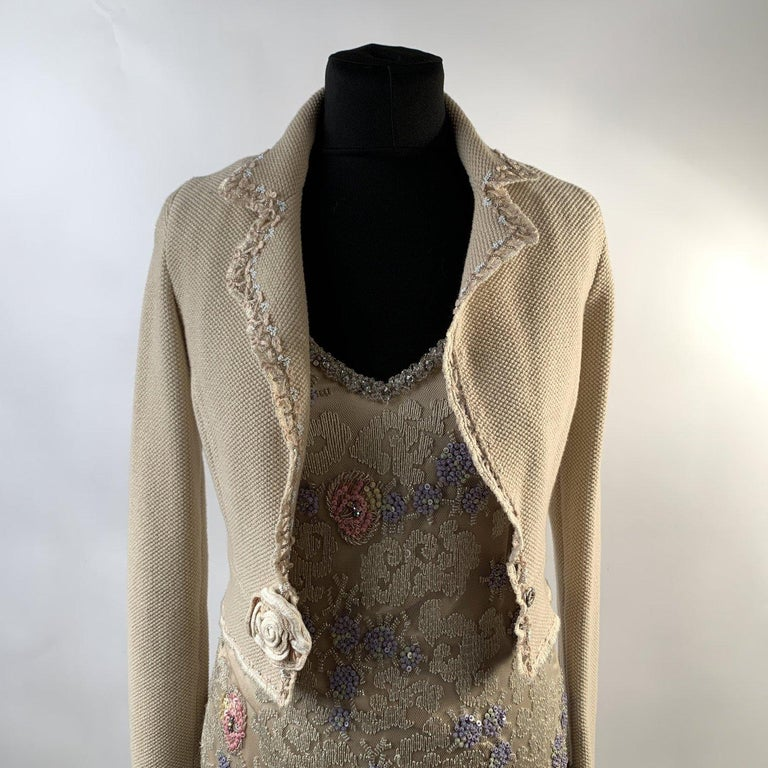 Blumarine Beige Beaded Midi Embellished Dress Set with Jacket For Sale 4