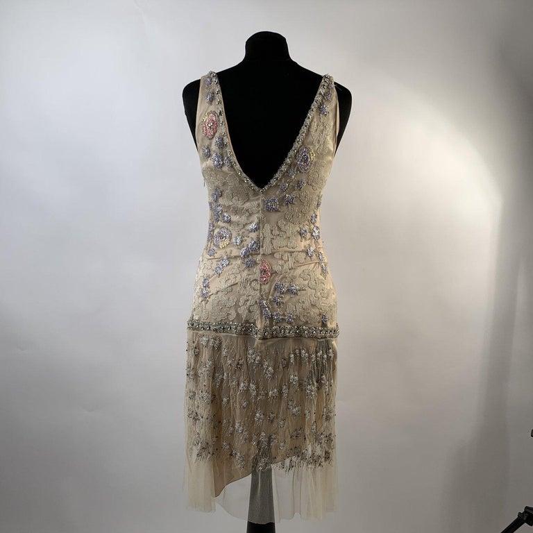 Blumarine Beige Beaded Midi Embellished Dress Set with Jacket For Sale 5