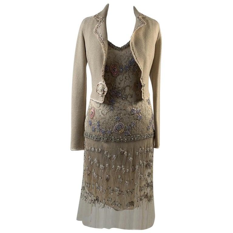 Blumarine Beige Beaded Midi Embellished Dress Set with Jacket For Sale
