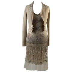Blumarine Beige Beaded Midi Embellished Dress Set with Jacket