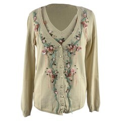 Blumarine Beige Viscose Floral Cardigan and Top Twin Set Size 46 IT