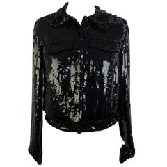 Blumarine Black Allover Sequin Jacket Jeans Style Size S