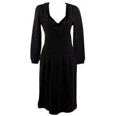 BLUMARINE Black Knitted LONG SLEEVE DRESS with BEADED Trim SIZE 38