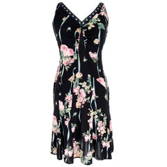 Blumarine Black Pink Floral Short Dress