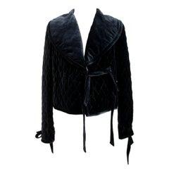 Blumarine Black Silk Quilted Short Jacket Bolero