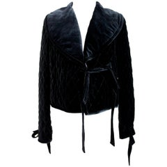 Blumarine Black Silk Quilted Short Jacket Bolero