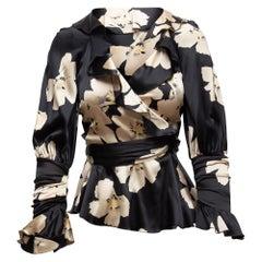Blumarine Black & White Floral Print Silk Blouse