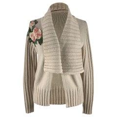 Blumarine Blugirl Wool Blend Cardigan with Floral Applique Size 46 IT
