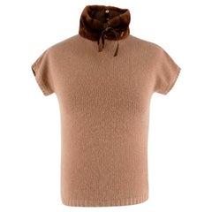 Blumarine Brown Cashmere Jumper with Sheared Fur Collar - Size US 2
