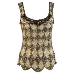Blumarine Couture Beige Embellished Tank Top with Sequins and Beads