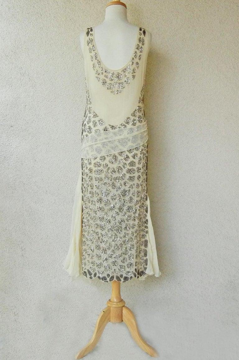 Beige Blumarine Couture Gatsby Inspired Silk Chiffon Hand Beaded Evening Dress  New For Sale