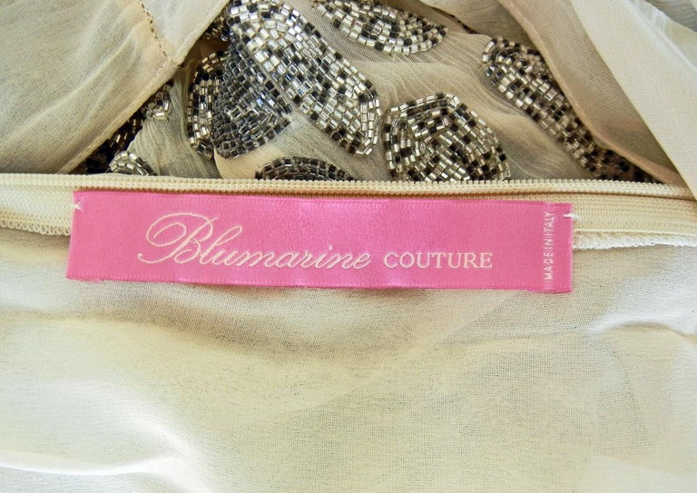 Blumarine Couture Gatsby Inspired Silk Chiffon Hand Beaded Evening Dress  New In New Condition For Sale In Los Angeles, CA