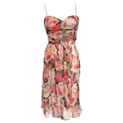 Blumarine Dress Rose Flower Print Striking Beaded Bow 42 / 8 New