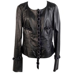Blumarine Embellished Black Leather Jacket Size 46
