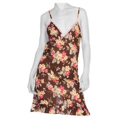 Blumarine Floral Cotton & Lace Slip Dress