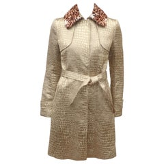 Blumarine Gold Lamé Trench Coat With Faux Leopard Collar