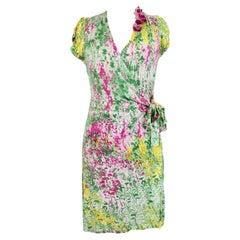 Blumarine Green Pink Floral Soft Sheath Dress
