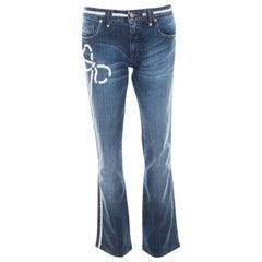 Blumarine Indigo Faded Effect Denim Crystal Bow Embellished Straight Fit Jeans M