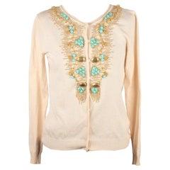 BLUMARINE Ivory Silk Knit EMBROIDERED CARDIGAN Size S