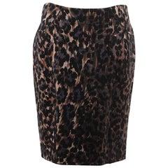 BLUMARINE Leopard STRETCH Wool PENCIL SKIRT Bodycon SIZE 44