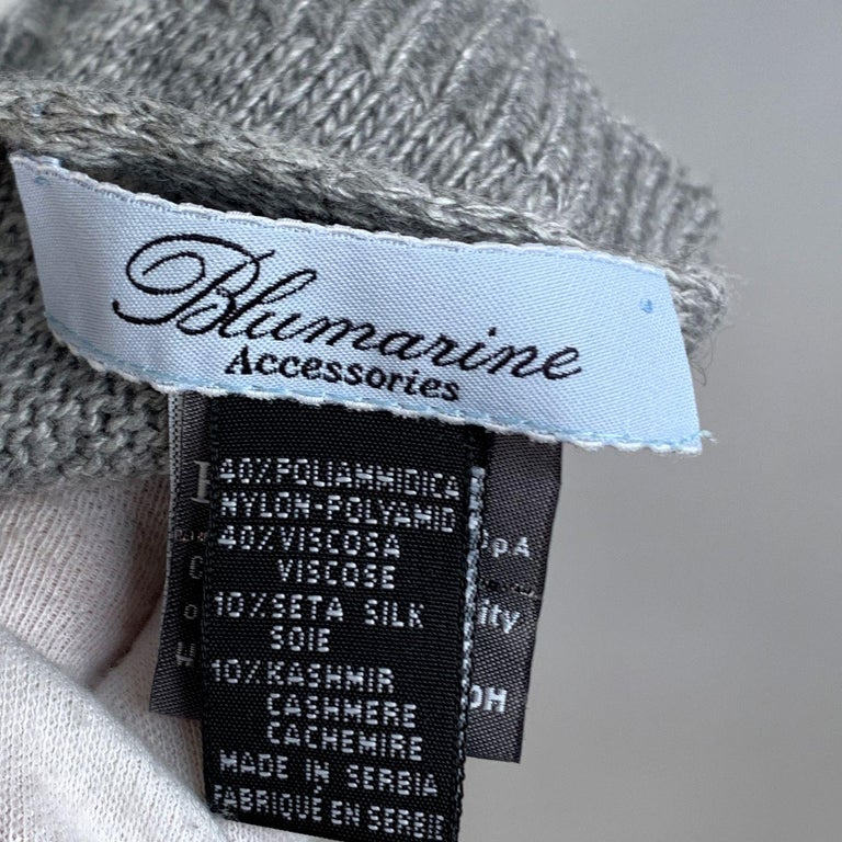 Blumarine Light Gray Knit Wrap Scarf with Rhinestones For Sale 1