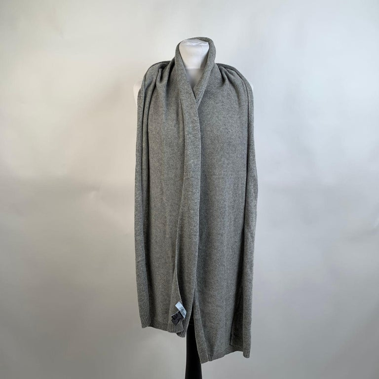 Blumarine Light Gray Knit Wrap Scarf with Rhinestones For Sale 3